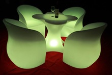 rechargeable led table/outdoor bar table and chairs