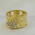 fantasia de borboleta grande anel de ouro grande barato anéis de casamento na china alibaba