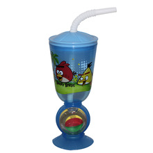 colorful plastic straw cup,novelty straw cup,straw cup with transfer print
