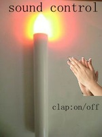 sound control led candle stick taper led candle light with sensor