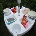 Usado em mesas de banquete para venda promoção guarda-chuva de praia de plástico tabela