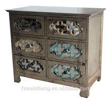 Antique Gold 6 Drawer Mirrored Finish Accent Dresser/Chest/Cabinet