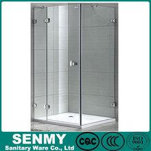 china supplier high quality rectangle hinge 3 panel frameless shower room furniture