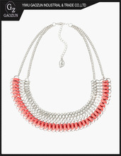2014 Latest Jewelry Metal Collar And Suede Interlocking Fashion Necklace