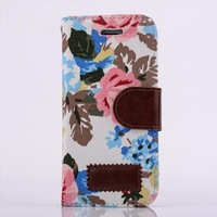 Colorful Flower Printing Wallet Leather Case for iPhone 5 5S F-IPH5LC038