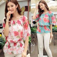Women Elastic Scoop Neck Glittery Print flower fashion blouse Batwing Sleeve Tops