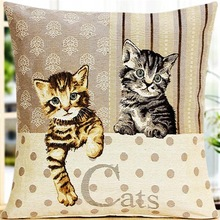 newest fortune cat pattern digital printed long stapled cotton decorative pillow