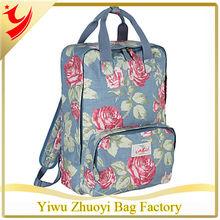 2014 New Famous Brand Matt-Coated Oilcloth Backpack Rucksacks printing Garden Rose