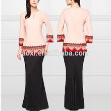 2014 Wholesale Fashion Pink Lace Mermaid Latest Kebaya Modern Design Baju Kurung From Bandung