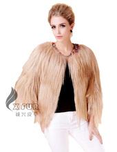CX-G-A-129H European Style Winter Genuine Goat Fur Woman Jacket 2014