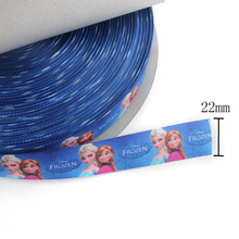 """2014 Newest Polyester Satin Ribbon 7/8"""" Width ,100 yard/roll Anna and Elsa Printed Royal Blue Satin For Decoration"""