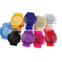 Popular market cheap quartz geneva ladies silicone rubber band watch