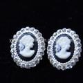 Metal de la alta calidad la resina del camafeo oval del pendiente del para mujeres con pelo corto