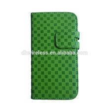 for Samsung S4 flip wallet leather case fiber carbon design green