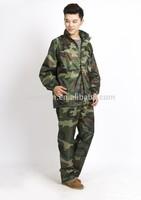 camouflage coat fashion waterproof militatry jacket and pant,rain suit army rain coat
