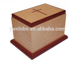 Wooden casket,carved wood urns for pets / wood carved caskets