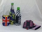 Hot Sale Foam Popular Deluxe Budget Freezable Neoprene Trimmed Neoprene Foldable America UK Flag Logo Beer Cooler Holder
