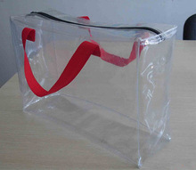 Zipper seal transparent pvc bag with handle packing blanket pvc clear plastic handle bags