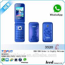 Preço barato h3520 quad band gsm dual sim card fm rddio música mini flip telefone móvel, telefone celular, telefon