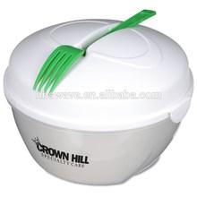 BFA free Plastic Salad Bowl Set with lid on the go