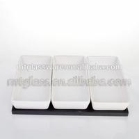 3 pcs white ceramic stonware sushi japanese rice bowls and plates set