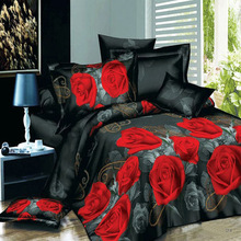 poly twill 3D bedding set black red duvet comforter cover set
