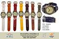 2014 nuevo producto reloj genuino de la vaca de cuero para hombre de cuarzo reloj