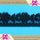 X0954-1K(0.6) Hot sale 2'' factory embroidered polyester bone cord organza heavy lace fabric black