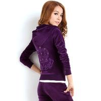 Training & jogging wear velour suit crown design sport suit for women