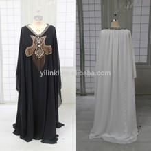 K2051 2014 Abaya Kaftan Dubai Kaftans White Chiffon Beaded Formal Dress for Sale