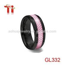 Fashion womens wedding band ,wholesale womens wedding band,Black Ceramic Ring Pink Carbon Fiber Inlay