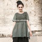 2014 hot sale vintage style plus size ruffle hem embellished front long 100 linen t-shirt western ladies like