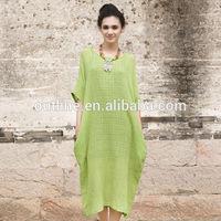 Summer latest design plus size long linen and cotton long casual dress manufacturer