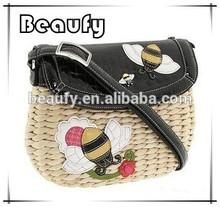 Hot Sale Design Bees Decoration Corn husk Straw Bag with Shoulder