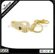 Rhinestone metal keychain, gold plating keychain, whistle keychain