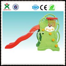 Bear style small kids indoor slide(QX-159B)/kids plastic hdpe slide/outdoor plastic kids slides