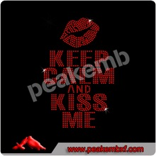 Wholesale iron-on Motif Keep Clam And Kiss Me Transfer Drawings Rhinestones