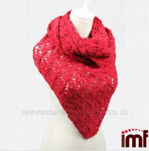 Red ganchillo de los tejido a mano triángulo del mantón de la bufanda de cachemira pura tela