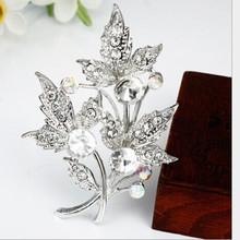 wedding bridal double tree shape rhinestone small silver crystal leaves brooch