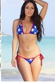 Micro Flag Print Bikini Blue White Star with Red Shimmer Piping Swimsuit