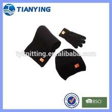 men black crochet knit hat scarf and gloves set