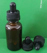 1oz boston round amber glass e liquid bottle with silicone bottle stopper