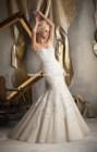 2014 New Fashion Elegant sleeveless mermaid lace and organza wedding dress