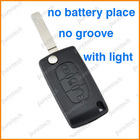 citroen car key case remote flip fobs shells replace with light no groove no battery holder