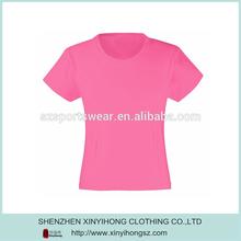 Blank Pink Polyester Cool Pass Plain Short Sleeve Women T Shirt