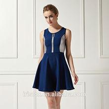 Última moda azul sexy mature rayon señora vestido de cóctel