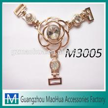 2014 new fashion metal flower shoe jewelry with diamond stone made in guangzhou