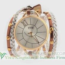 New fashion multi strands leather braided quartz women wrist watches!! Handmade big watch face women wrist watches wholesale!!