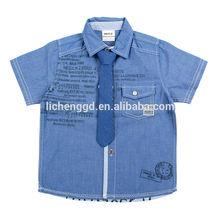 ( NX1327 ) cowboy 18M-6Y Nova Kids Summer wear polo with tie clothes baby boy uniform t shirt