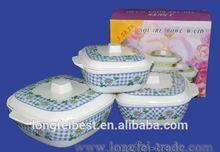 6-8 inch Melamine three piece square bowl, plastic bowl